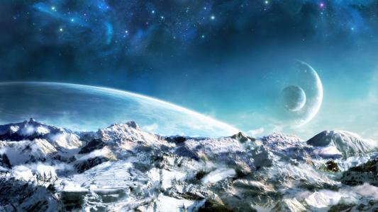 冰世界背景下的其他人的行星