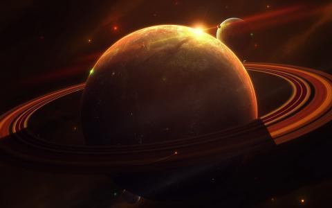 与圆环的巨型星球