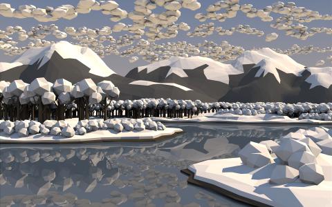 冬季森林,3D图形