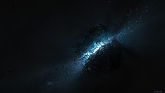 黑色小行星内部的光