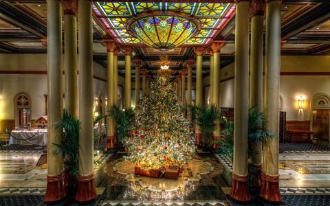 在酒店的圣诞树