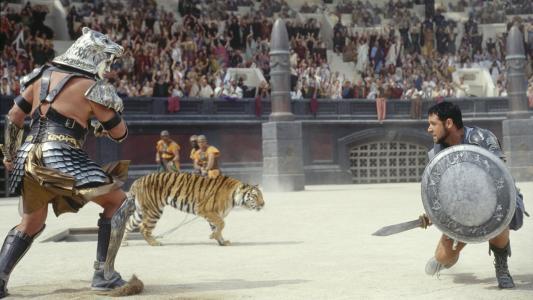 在电影角斗士的竞技场中战斗