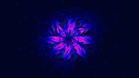在蓝色背景上的紫色抽象花