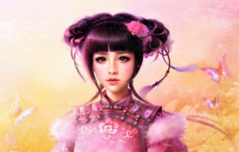 美丽的年轻女孩亚洲幻想