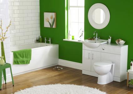 绿色的浴室