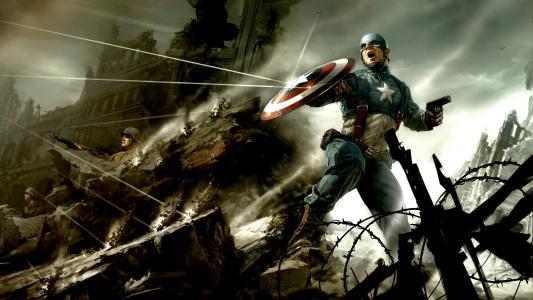 美国队长在战斗中