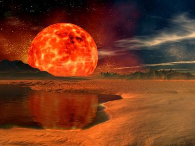 地平线上的大太阳