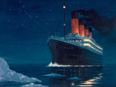 泰坦尼克号接近冰山