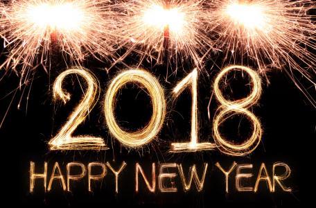 题字与新的一年2018年黑色背景上