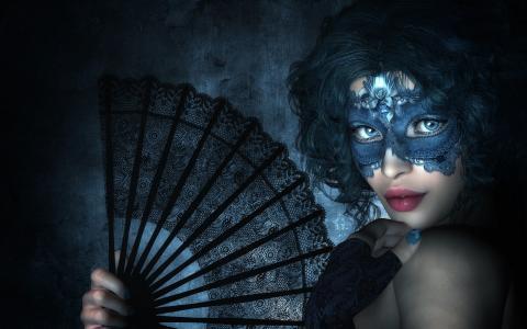与黑色风扇的面具的女孩