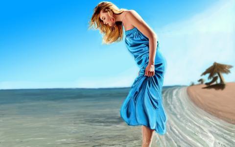 一个穿着蓝色衣服的女孩脚踝到水里