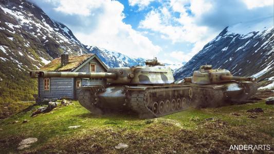 坦克在山上的小屋