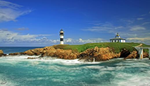里瓦德奥西班牙岛上的灯塔