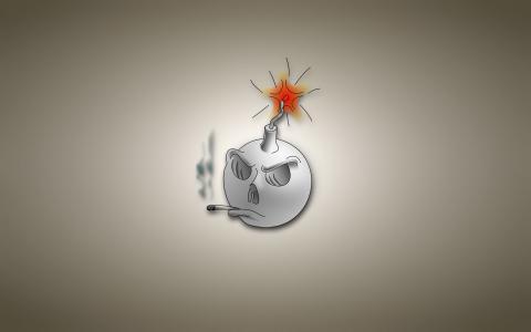 炸弹准备爆炸,灰色的背景