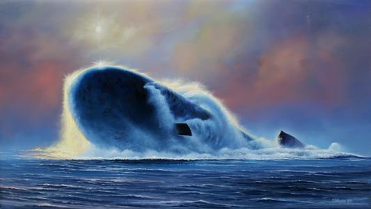 潜艇上升到水面