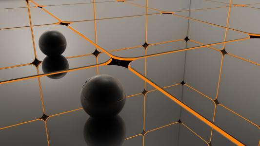 在橙色网络中的黑球