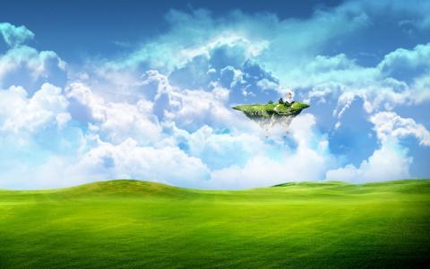 有烽火台的飞行岛屿