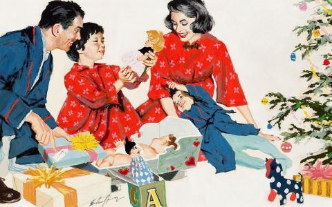 家庭打开礼物