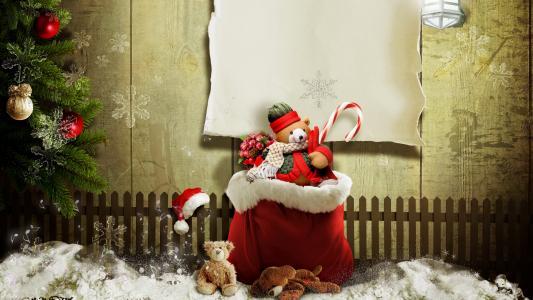 与玩具的圣诞袋