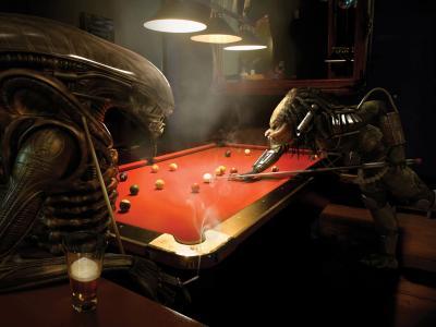外星人玩台球