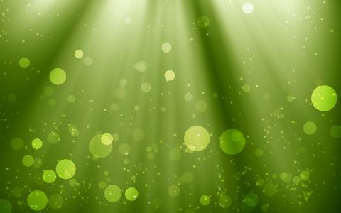 光线和绿色的水中眩光