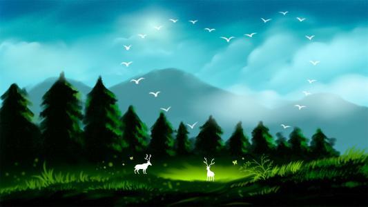 治愈系唯美森林与鹿插画