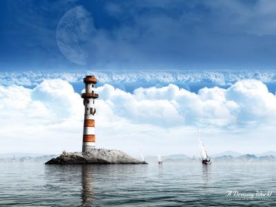 灯塔在一个梦幻般的世界