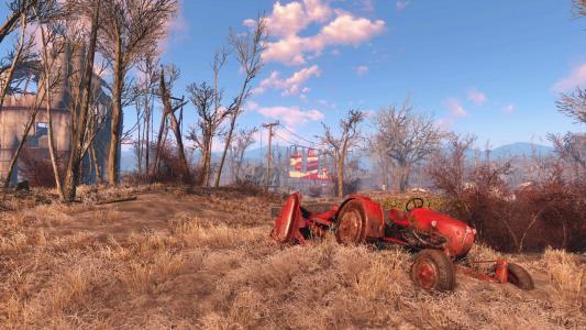 在外地破碎的拖拉机,游戏辐射4