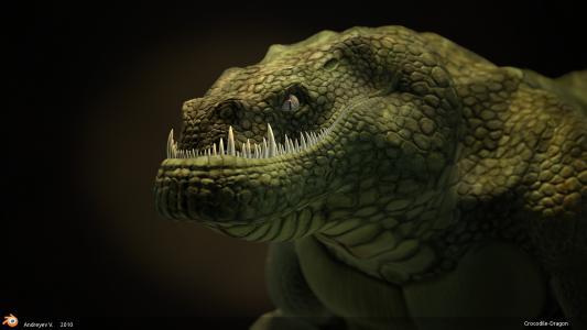 鳄鱼与锋利的牙齿