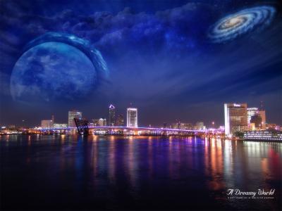 虚构的世界中的夜晚城市