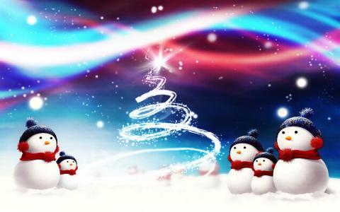 圣诞节的雪人,五颜六色的图片