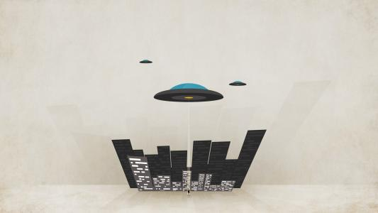 飞碟在城市,背景的板材