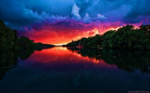 美丽的红色天空