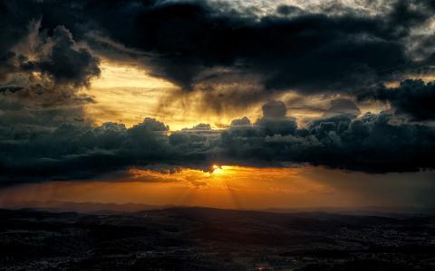 天空,太阳光线,7月