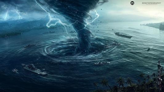 龙卷风在海湾创造了一个漩涡