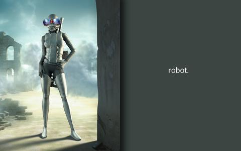 带蓝色眼镜的机器人