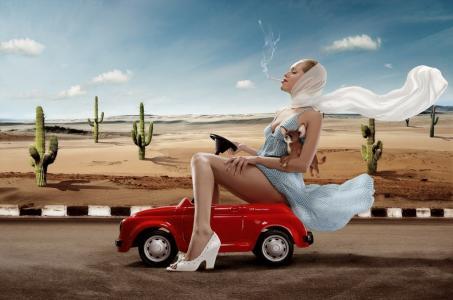 红色的车里的女孩