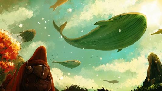 一群鲸鱼在空中飞翔
