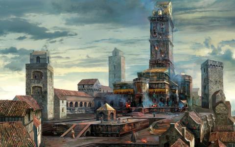 在游戏中的城市广场巫师3狂猎