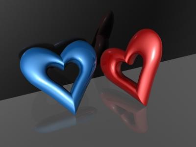 蓝色和红色的心