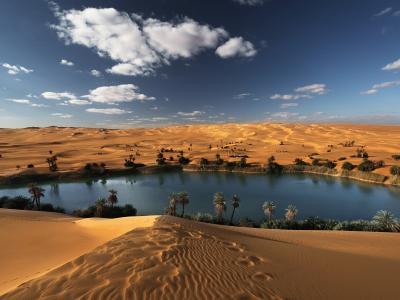 利比亚沙漠中的绿洲