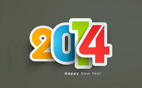 新年快乐2014年,灰色的背景