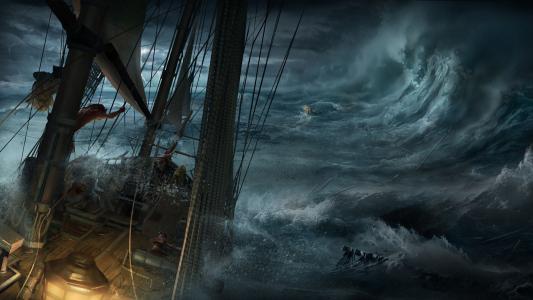 在波涛汹涌的大海中的一艘船