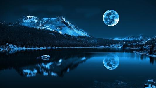 夜,景观,水,月亮