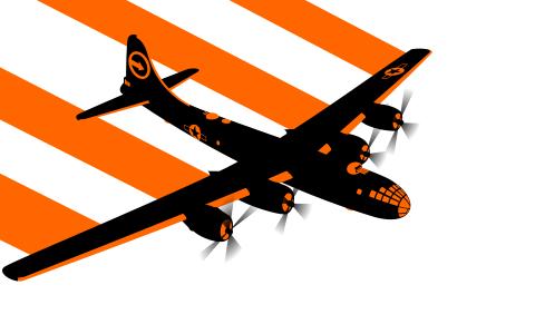 飞机在它后面留下一条橙色的小路
