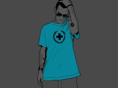 有一个十字架的人在一件T恤杉