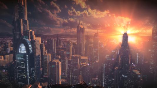 太阳在日落时,摩天大楼,文明