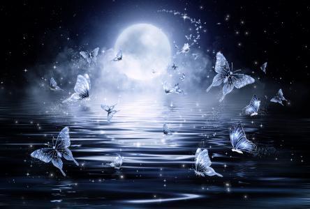 梦幻般的霓虹蓝蝴蝶以月亮为背景