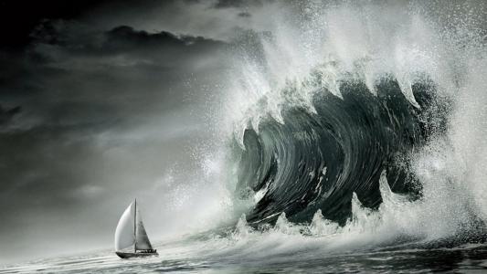 船和海啸波