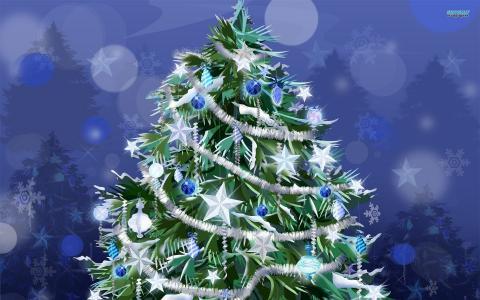 与白色星星的圣诞树2014年